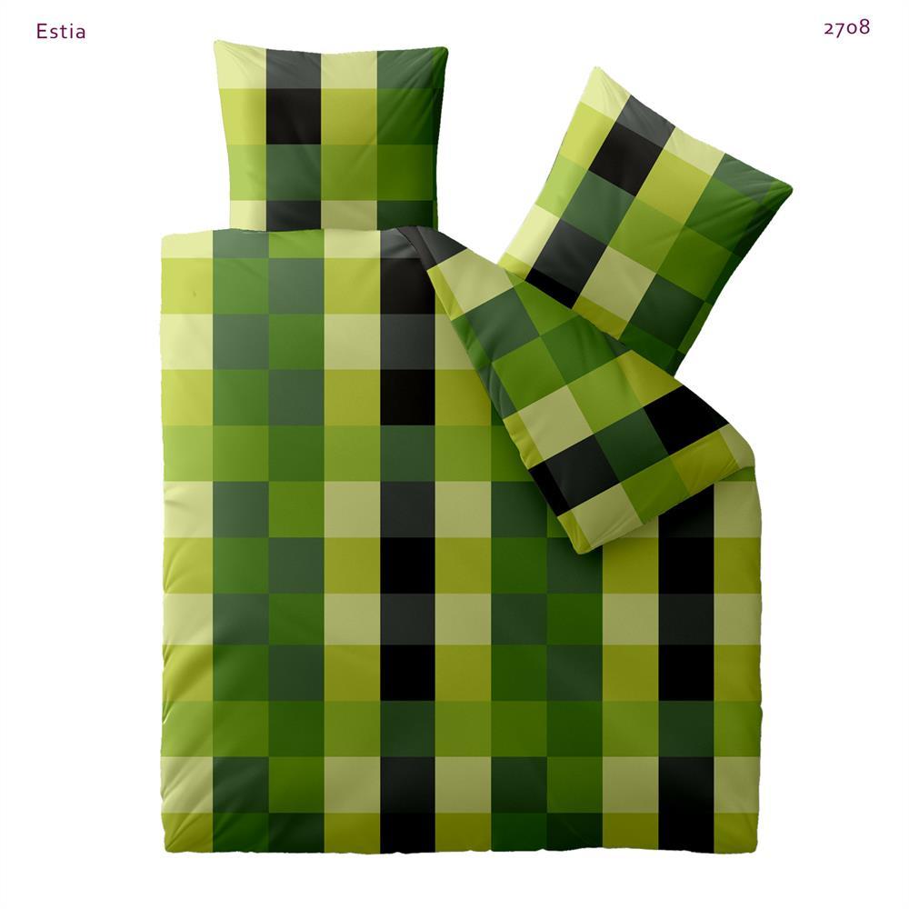 microfaser bettw sche garnitur bettbezug 4 gr en kariert gr n harmony estia ebay. Black Bedroom Furniture Sets. Home Design Ideas