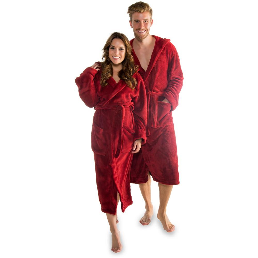 bademantel morgenmantel kapuze microfaser fleece damen herren florida chili rot ebay. Black Bedroom Furniture Sets. Home Design Ideas