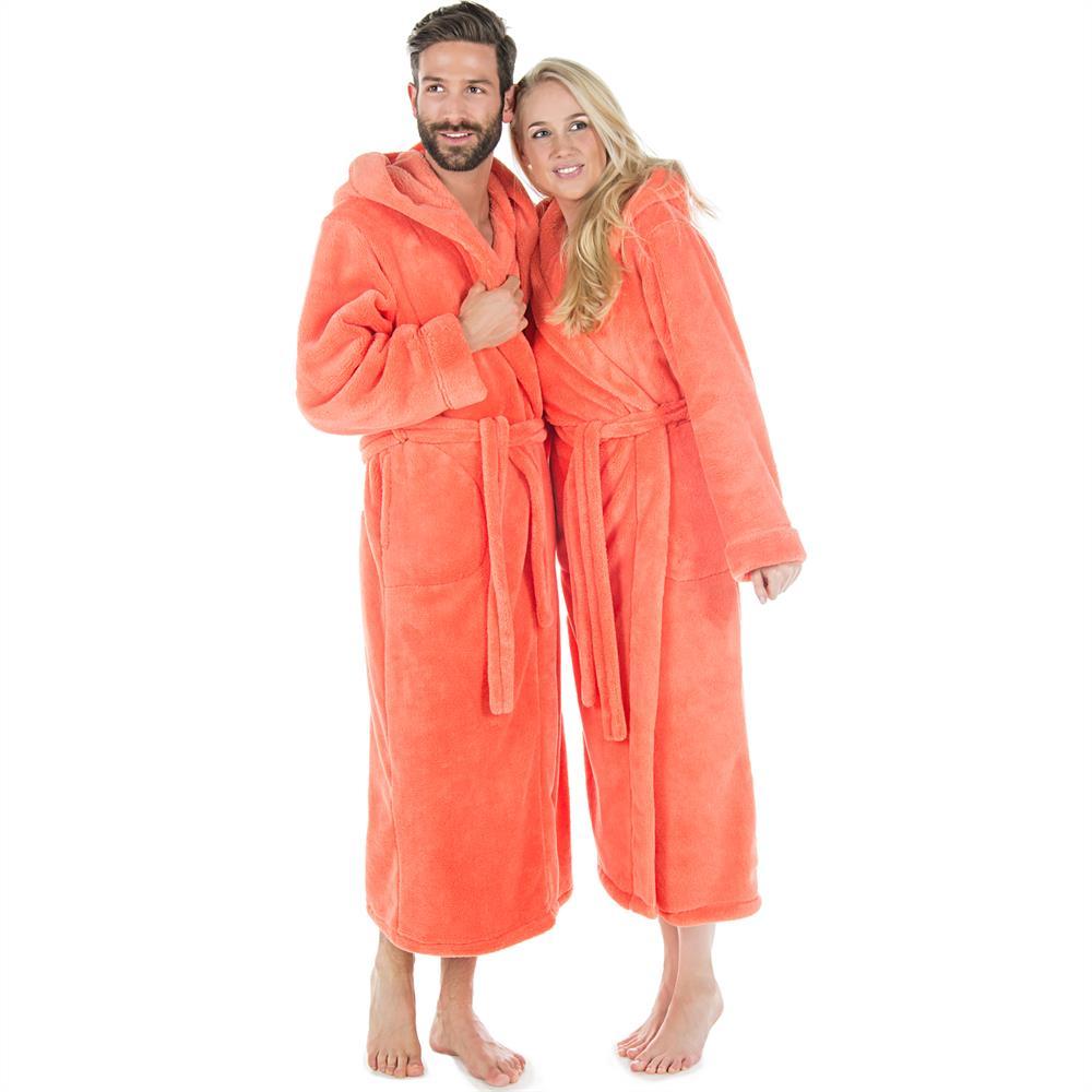 bademantel morgenmantel saunamantel kapuze damen herren wadenlang fleece samos. Black Bedroom Furniture Sets. Home Design Ideas