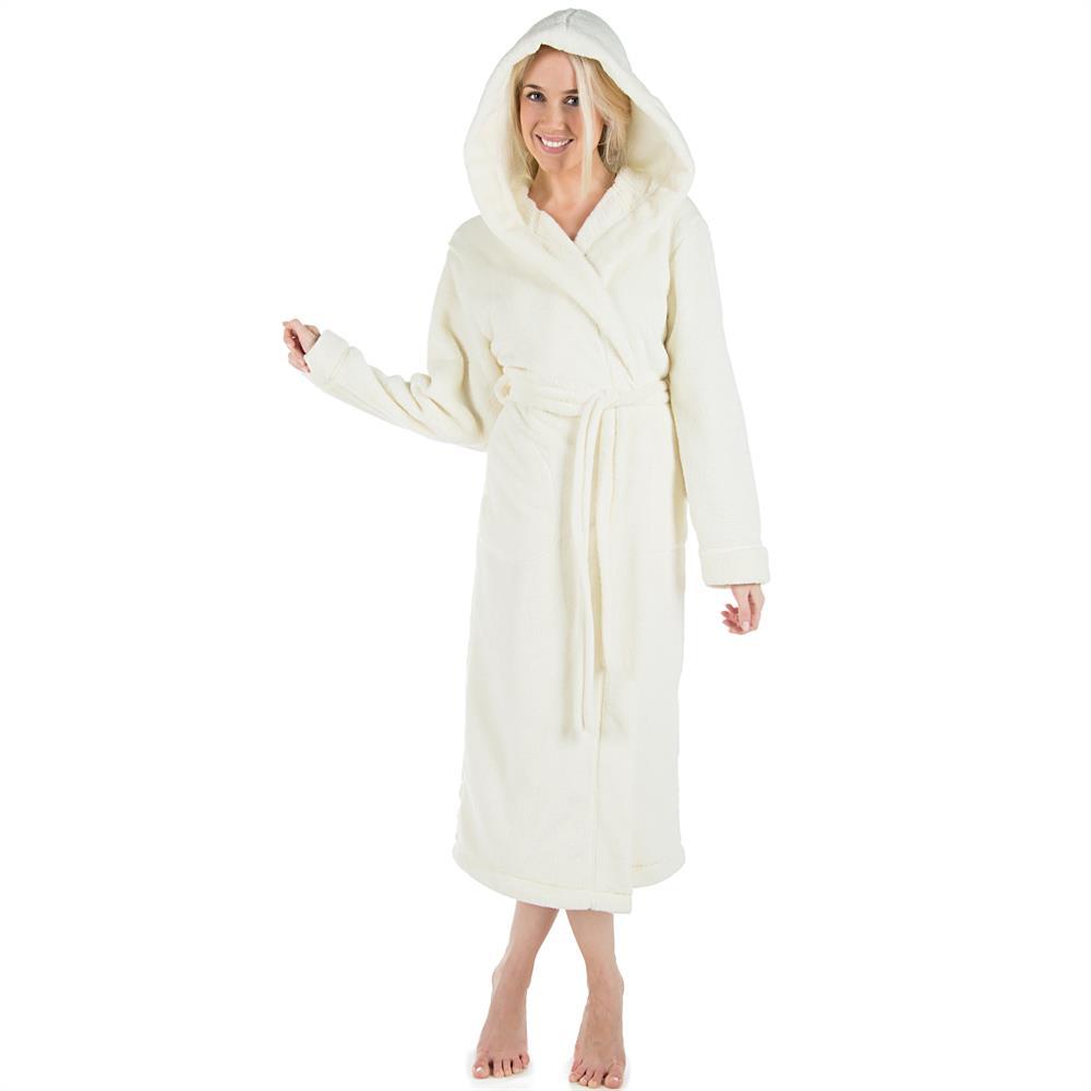 bademantel morgenmantel saunamantel kapuze damen herren wadenlang fleece samos ebay. Black Bedroom Furniture Sets. Home Design Ideas