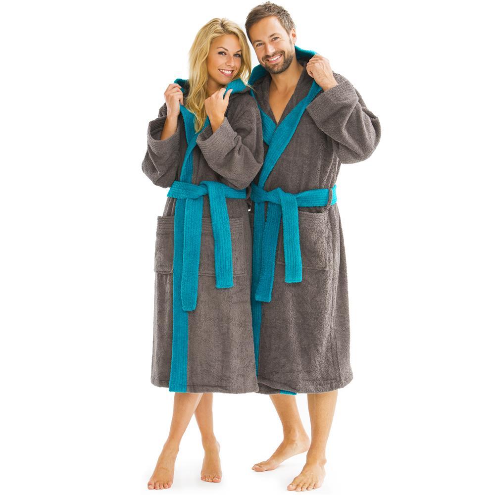 bademantel morgenmantel sauna spa baumwolle kapuze damen herren zweifarbig sylt ebay. Black Bedroom Furniture Sets. Home Design Ideas